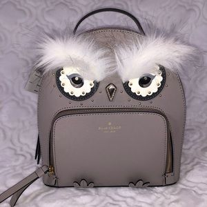 Kate Spade NEW Gray Owl leather backpack Tomi